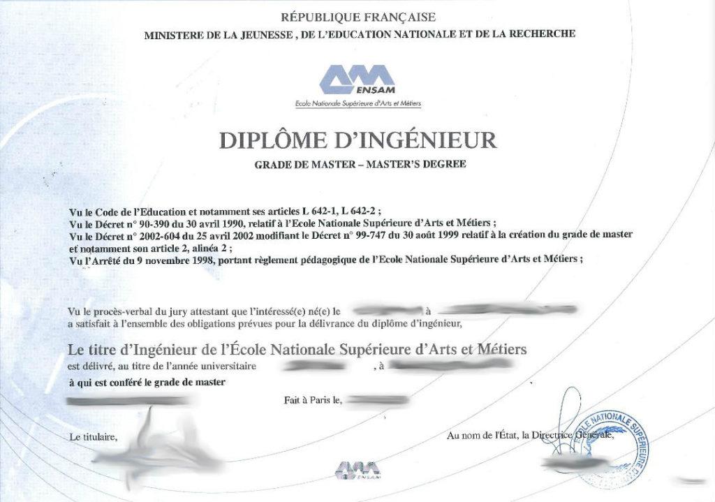 traduction diplôme ingénieur ENSAM