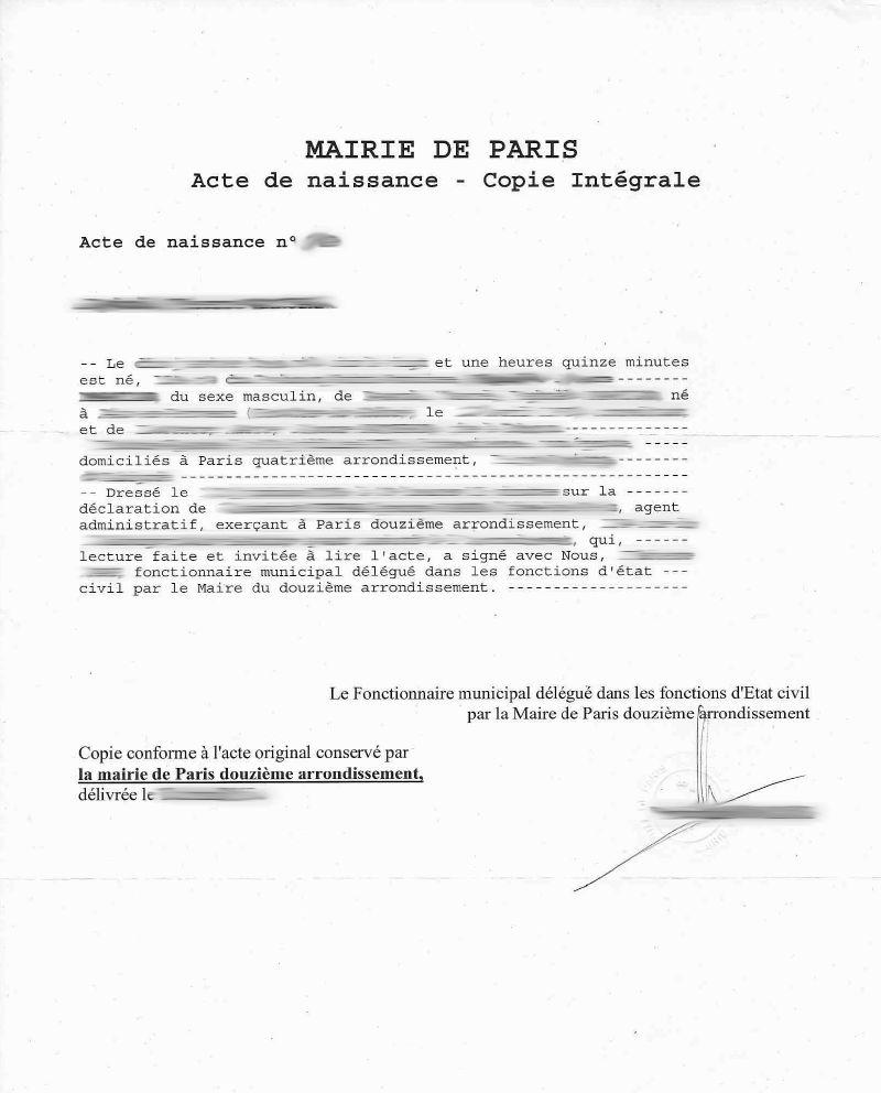 traduction en anglais d'un acte de naissance à Paris