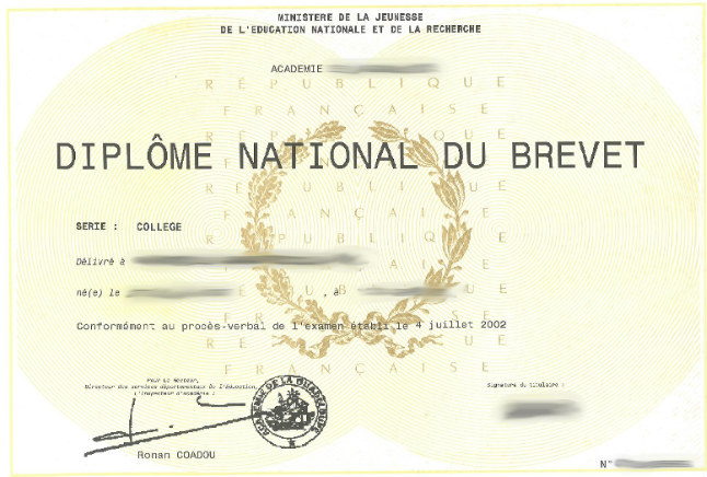 traduction diplome national du brevet